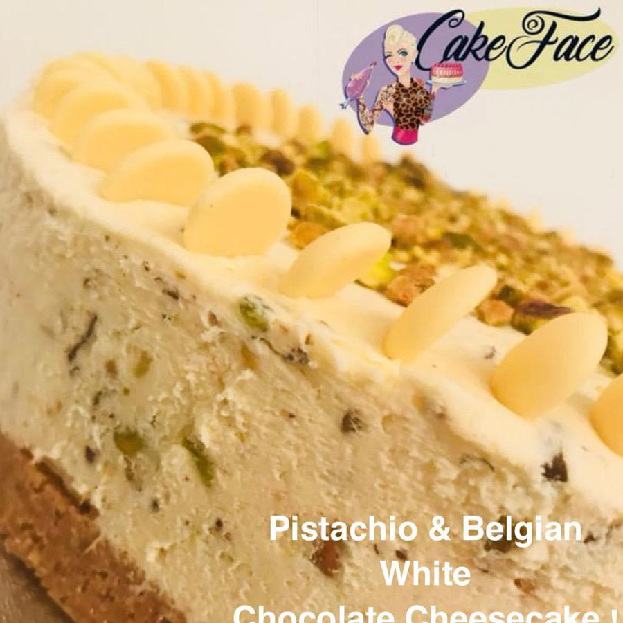 Pistachio and Belgian White Chocolate Cheesecake